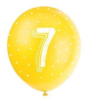 Balloon: Pearlised Assorted Colour 7th Birthday Latex Balloons 5pk