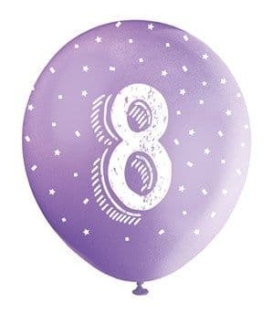 Balloon: Pearlised Assorted Colour 8th Birthday Latex Balloons 5pk
