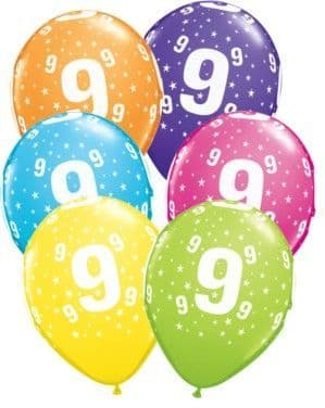 Balloons: 11' 9th Birthday Assorted Balloons  x25pk