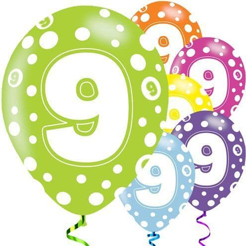 Balloons: 11' 9th Birthday Assorted Balloons  x6pk