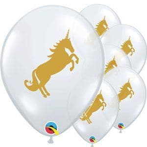 Balloons:  11'' Golden Unicorn Diamond Clear Balloons  25pk