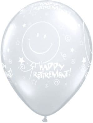 """Balloons: 11"""" Retirement! Smile Face Around Clear Latex Balloons x25pk"""