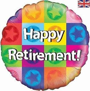 """Balloons: 18"""" Happy Retirement coloured Foil Balloons - Sold deflated"""