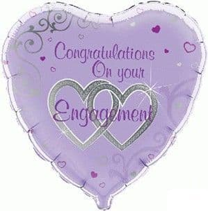 Balloons: 18' Heart Shaped Engagement Foil Balloon (Inflated price £3.50)