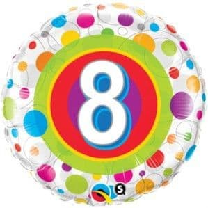 Balloons: 8th Birthday Dotty Foil Balloon - Sold deflated