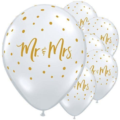 Balloons: Mr & Mrs Gold Dots Diamond Clear Balloons x25pk