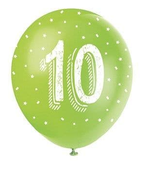 Balloons: Pearlised Assorted Colour 10th Birthday Latex Balloons 5pk