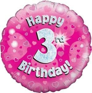 Balloons: Pearlised Assorted Colour 3rd Birthday Latex Balloons 5pk