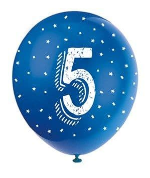 Balloons: Pearlised Assorted Colour 5th Birthday Latex Balloons 5pk