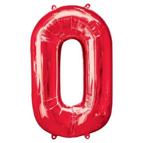 Balloons: Red 34 Inch Numbers 0 to 9 - Sold Deflated