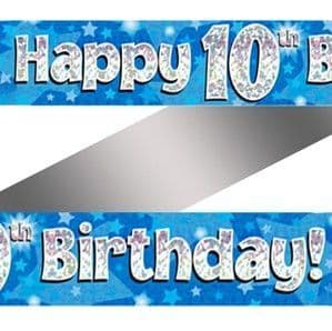 Banner: 10th Birthday Blue Holographic Banner