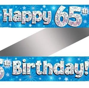 Banner: 65th Birthday Blue Holographic Banner