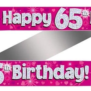 Banner: 65th Birthday Pink Holographic Banner