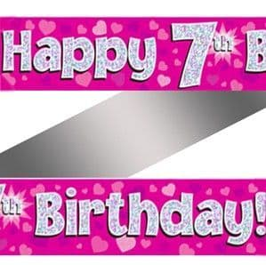 Banner: 7th Birthday Pink Holographic Banner