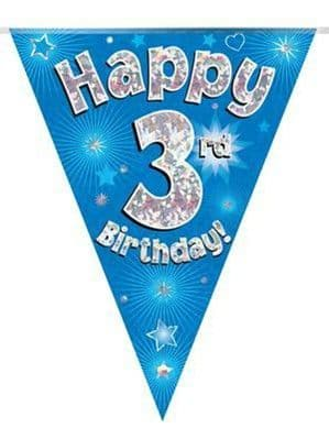 Banner: Blue Happy 3rd Birthday Holographic Flag Banner