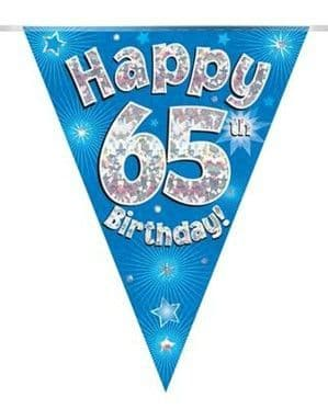 Banner: Blue Happy 65th Birthday Holographic Flag Banner