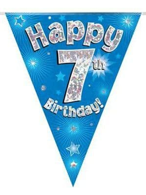 Banner: Blue Happy 7th Birthday Holographic Flag Banner