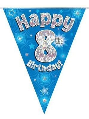 Banner: Blue Happy 8th Birthday Holographic Flag Banner