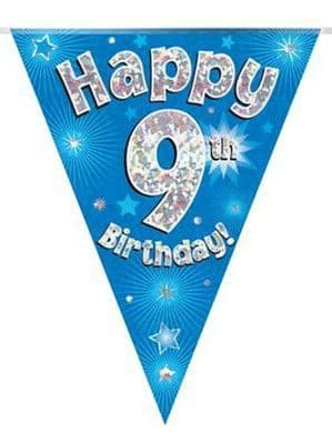 Banner: Blue Happy 9th Birthday Holographic Flag Banner