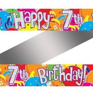 Banner: Colourful 7th Birthday Balloons Foil Banner