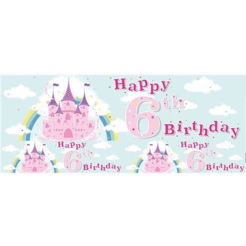 Banner: Fairytale Castle 6th Birthday Foil Banner - 2.6m