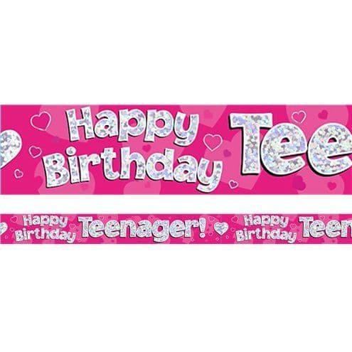 Banner: Happy Birthday Teenager Pink Foil Banner - 2.7m