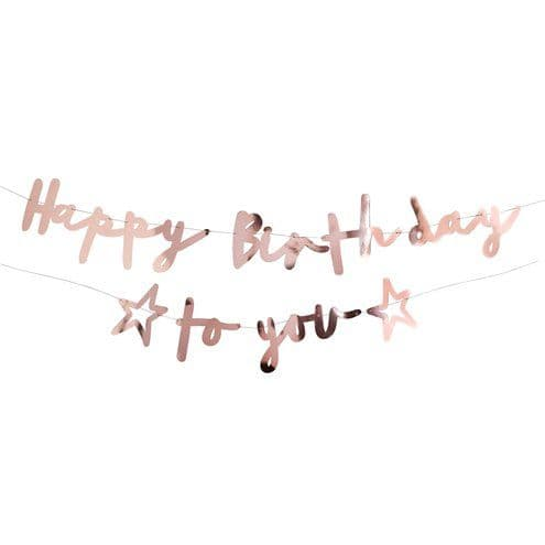 Banner: Happy Birthday to You Rose Gold Letter Banner
