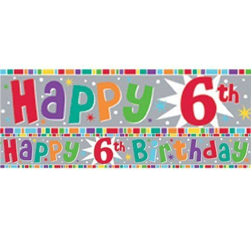 Banner: Holographic 6th Birthday Foil Banner - 2.6m