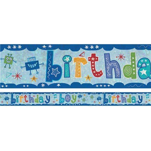 Banner: Holographic Birthday Boy Foil Banner - 2.7m