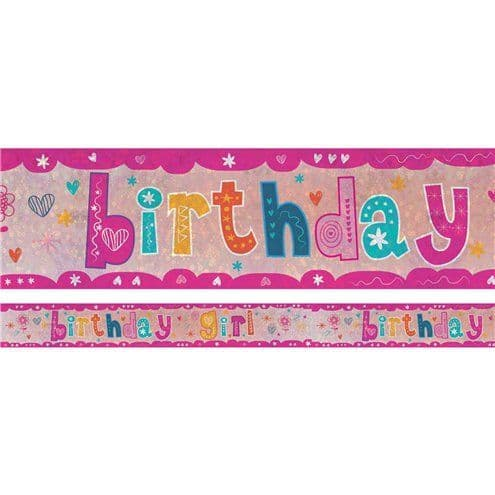 Banner: Holographic Birthday Girl Foil Banner - 2.7m