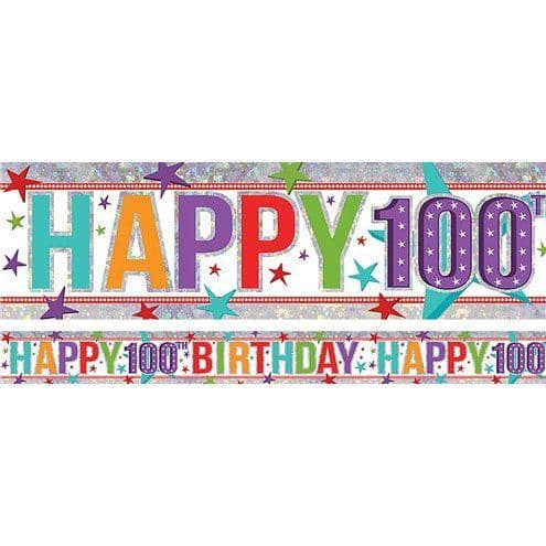 Banner: Holographic Happy 100th Birthday Multi Coloured Foil Banner - 2.7m