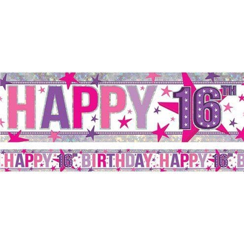 banner: Holographic Happy 16th Birthday Pink Foil Banner - 2.7m