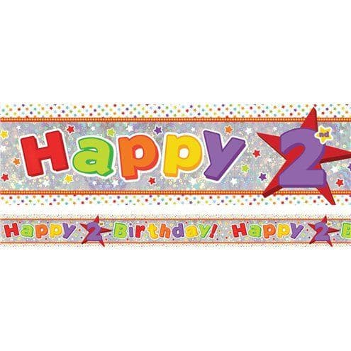 Banner: Holographic Happy 2nd Birthday Multi Coloured Banner - 2.7m