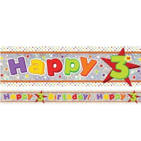 Banner: Holographic Happy 3rd Birthday Multi Coloured Foil Banner - 2.7m