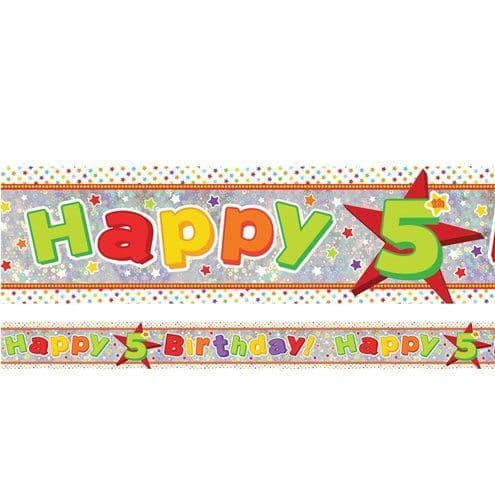 Banner: Holographic Happy 5th Birthday Multi Coloured Foil Banner - 2.7m