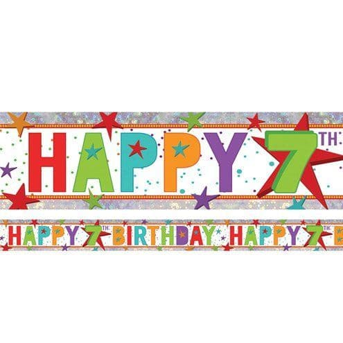 Banner: Holographic Happy 7th Birthday Multi Coloured Foil Banner - 2.7m