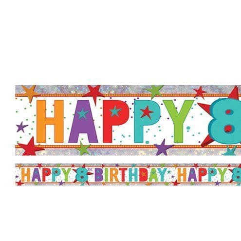 Banner: Holographic Happy 8th Birthday Multi Coloured Foil Banner - 2.7m
