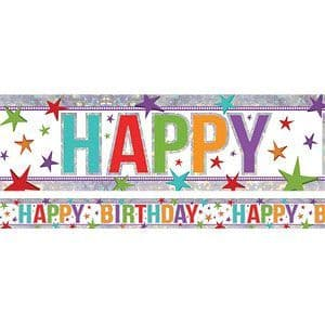 Banner: Holographic Happy Birthday Multi Coloured Adult Birthday Banner - 2.7m (each)