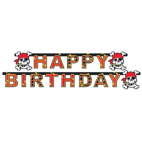 Banner: Jolly Roger Pirate Birthday Banner - 1.8m