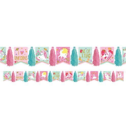 Banner: Magical Unicorn Glitter Tassel Garland - 3m