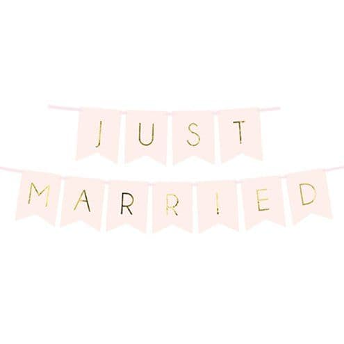 Banner: Pastel Pink Just Married Bunting - 1.5m