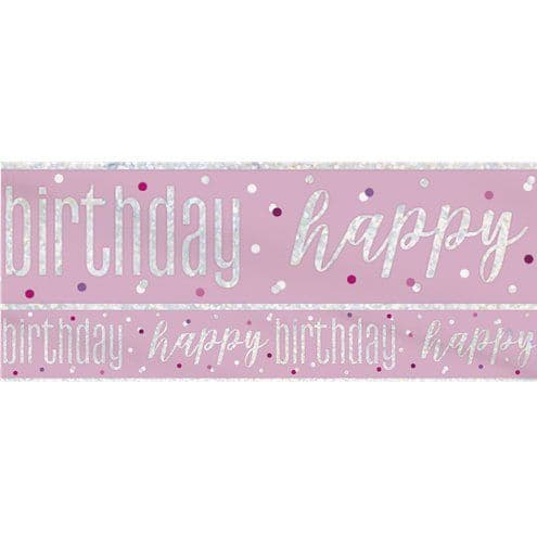 Banner: Pink Birthday Glitz Happy Birthday Banner - 2.75m