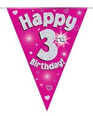Banner: Pink Happy 3rd Birthday Holographic Flag Banner