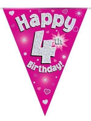 Banner: Pink Happy 4th Birthday Holographic Flag Banner