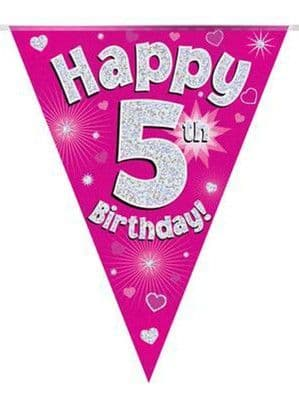 Banner: Pink Happy 5th Birthday Holographic Flag Banner