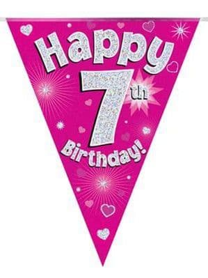 Banner: Pink Happy 7th Birthday Holographic Flag Banner