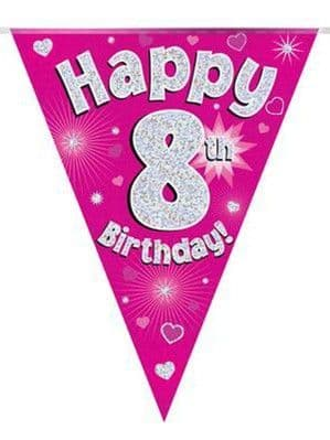 Banner: Pink Happy 8th Birthday Holographic Flag Banner