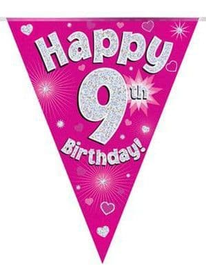 Banner: Pink Happy 9th Birthday Holographic Flag Banner