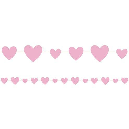 Banner:Pink Hearts Baby Shower Garland - 2.75m