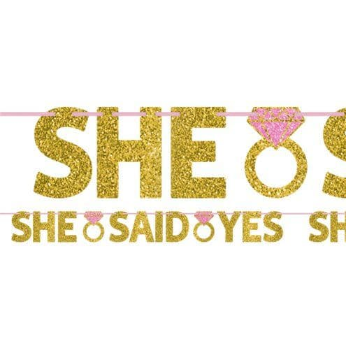 Banner: She Said Yes Glitter Letter Banner - 1.3m